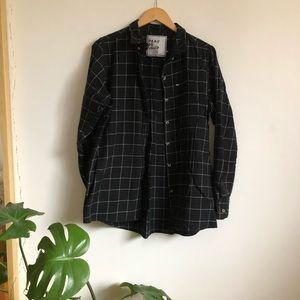 Black + White Plaid Button Up Cotton Shirt